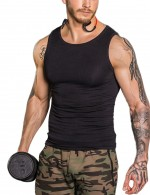 Slimming Black Mens Seamless Sleeveless Shaper Compression Silhouette