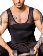 Glam Black Crossover Slimming Male Tank Top Pull Back High Power