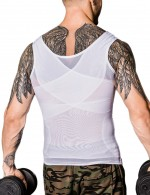 Remarkable Results White Men Patchwork Sleeveless Shaper Cross Back Unique