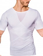 Comfortable White Mens Short Sleeved Mesh Slimming Top Crossover