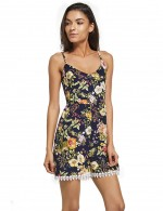 Dramatic V Neck Bodysuit Allover Floral Print At Great Prices‎