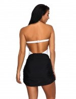 Snazzy Plugging Neck White One Piece Swimwear Criss-Cross Ruched