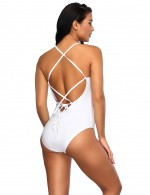 Best White Waist Hollow Out Design One Piece Swimsuit Spaghetti Straps