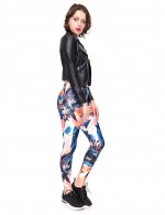 Creative Petal Print Yoga Legging Mid Rise Fashion Forward