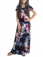 Navy Blue Floral Pattern Maxi Dress Elastic Waistband For Vacation
