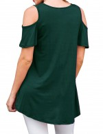 Modest Blackish Green Short-Sleeved Shirt Cold Shoulder Fashion