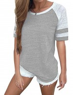 Delicate Grey Round Neck Plus T-Shirts With Stripes Ladies