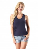 Delicate Navy Blue Sleeveless Bamboo Tops High Stretch Ladies