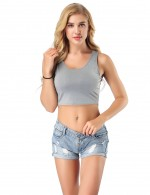 Striking Grey Bamboo Stretch Cropped Top No Sleeves Fashion