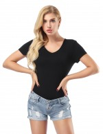 Alluring Black V Neck Top Bamboo Fiber Women Outfit
