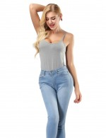 Snug Fit Grey Camisole Tops Stretch Cheap Online Sale