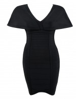 Stretch Irregular Hem Black Zip Cloak Bandage Dress