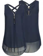 Fad Navy Blue Chiffon Layers Blouses Criss Cross Plus For Holiday