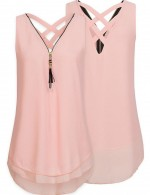Adorable Light Pink High-Low Hem Plus Shirts No Sleeve Comfort Fashion