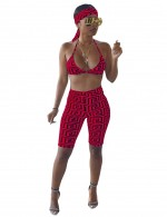 Post Surgery Red Halter Top Bottoms Set Grid Print