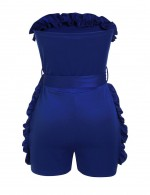 Knot Belted Sapphire Blue Bandeau Rompers Tight Fit Hot Sale