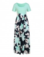 Eye Catch Light Blue Waist Belt Long Dress Round Neck Feminine