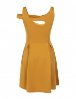 Sassy Yellow Hollow Out Skater Dress Sleeveless Casual Women