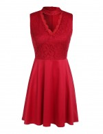 Seductive Red A-Line Lace Mini Skater Dress Sleeveless For Women