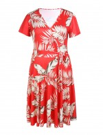 Brightly Red Wrap Skater Plus Dress Floral Print For Vacation
