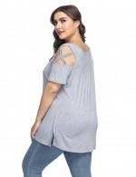 Interesting Grey Pleated Short Sleeved Tees Large Size