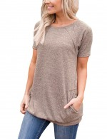 Adorable Khaki Short Sleeves Tees Side Pockets Comfort