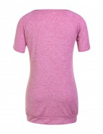 Appropriate Rose Red Round Collar T-Shirt Short Sleeves