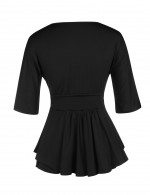 Bright Black Ruffles Plus Wrap Blouse Defined Waist Free Time
