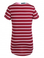 Romans Red Print Striped Blouse With Pocket Home Clothes
