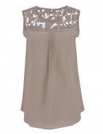 Dreamy Khaki Sleeveless Large Size Chiffon Tops At Great Prices‎