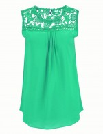 Classical Green Lace Large Size Blouses No Sleeve Chic Online