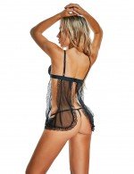 Fitness Black Backless Babydoll Hollow Out Lingerie Set