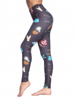 Multi-Function Brown Printed Brushed Leggings Mid Waistline Hot