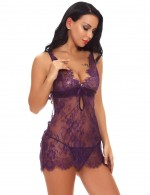 Ultra Hot Purple Cut Out Knot Babydolls Scallop Lace