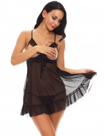 Evening Romance Black Ruched Cut Out Babydolls Sets Knot