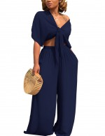 Nautically Crop Top Long Loose Pants Navy Blue 2 Piece Feminine Fashion