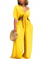 Skinny Yellow Crop Top Set With Wide Leg Womens Trendy Clothes V Neck
