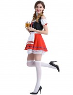Shimmer Red Maid Halloween Costume Without Socks Shoes