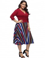 Entrancing Wine Red Midi Plus Swing Dress 3/4 Sleeve Casual Fashion