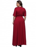 Smooth Wine Red Split Ruched Large Dresses Floor Length