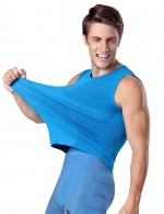 Contouring Sensation Blue Round Neck Tank Shaper For Men Underwear