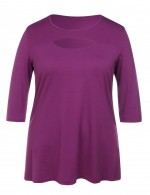 Purple Faddish Cut Out Tops Queen Size For Female