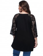 Black Luscious Curvy Lace Patchwork Shirts Plus Size Street Style