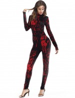 Gracious Red Halloween Cosplay Romper Splatter Costume For Sexy Women