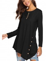 Bright Black Asymmetrical Hem Shirt Round Neck Relax Fit