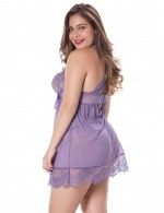 Aphrodisiac Purple Mesh Babydoll Queen Size Bow Lace Cheap Online
