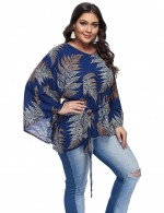 Captivating Navy Blue Printed Large Tops Bell Sleeves Preventing Sweat