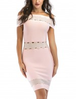 Gorgeous Pink Hollow Out Bandage Dress Off Shoulder For Ladies