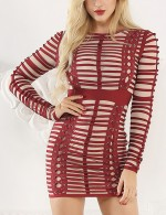 Inviting Wine Red Long Sleeves Round Neck Bandage Dress Snug Fit
