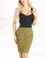 Smooth Green Bandage Tight Skirt High Waist Wedding Trip